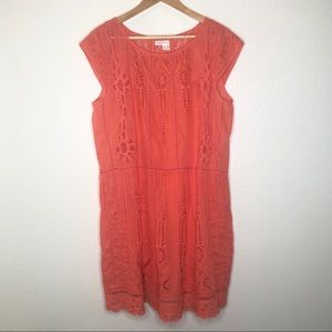 Meadow Rue Watermelon Ice Coral Lace Dress Sz 14